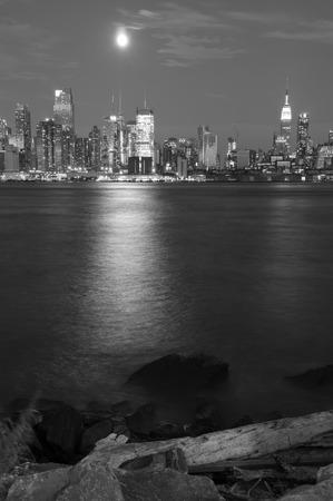 hudson: new york cityscape capture at night over hudson