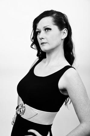20 year old: photo black and white beautiful 20 something year old female portrait Stock Photo