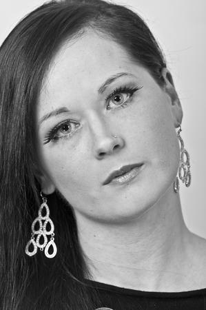 20 something: photo black and white beautiful 20 something year old female portrait Stock Photo