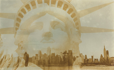 Aged sepia digital grunge distressed effect New York. Stock Photo