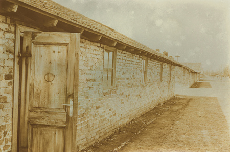 concentration camp: Aged sepia digital grunge distressed effect auschwitz concentration camp.