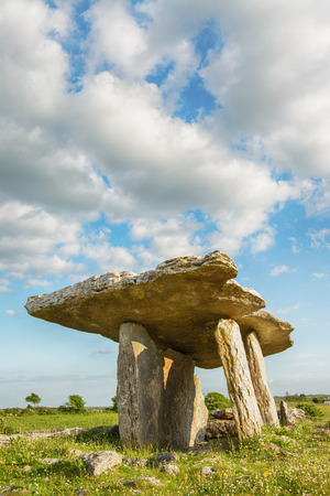 stoneage: 5000 years old Polnabrone Dolmen in Burren, Co. Clare - Ireland