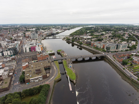 Aerial view cityscape of limerick city skyline, ireland