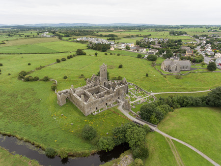 quin: aerial quin abbey, county clare, ireland