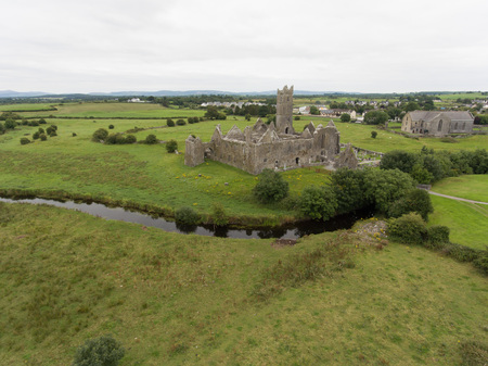 county: aerial quin abbey, county clare, ireland