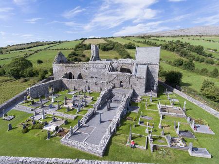 burren: aerial view corcomroe abbey clare, burren, county clare, ireland Stock Photo