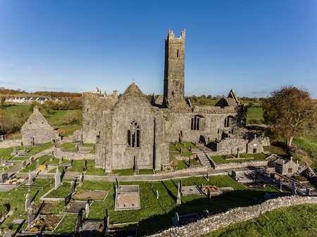 quin: World famous irish public free tourist landmark, quin abbey, county clare, ireland. aerial landscape view of this beautiful ancient celtic historical architecture in county clare ireland.