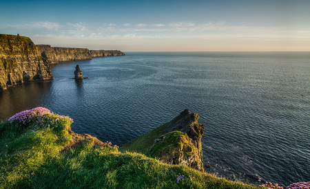 irish landscape: Ireland Irish world famous tourist attraction in County Clare. The Cliffs of Moher West coast of Ireland. Epic Irish Landscape and Seascape along the wild atlantic way. Beautiful scenic nature from Ireland.