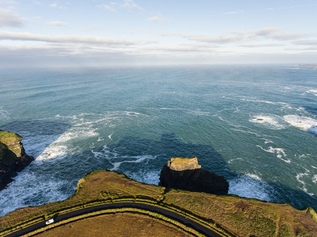 irish countryside: Aerial Loop Head Peninsula in West Clare, Ireland. Kilkee Beach County Clare, Ireland. Famous beach and landscape on the wild atlantic way. Epic Aerial scenery landscape from Ireland.