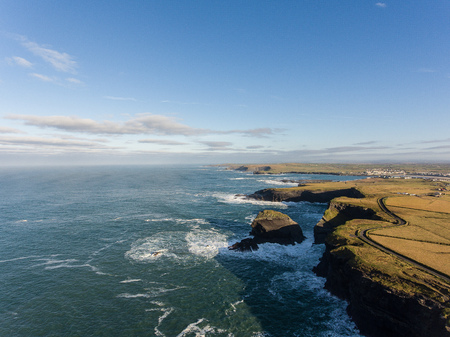 irish landscape: Aerial Loop Head Peninsula in West Clare, Ireland. Kilkee Beach County Clare, Ireland. Famous beach and landscape on the wild atlantic way. Epic Aerial scenery landscape from Ireland.