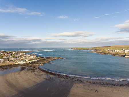 west coast of ireland top summer beach. kilkee beach and town in county clare. scenic kilkee on a sunny day. aerial view.