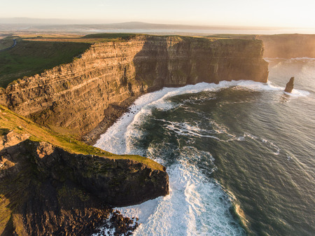 irish countryside: Aerial Ireland countryside tourist attraction in County Clare. The Cliffs of Moher sunset  Epic Irish Landscape along the wild atlantic way. Beautiful scenic irish nature.