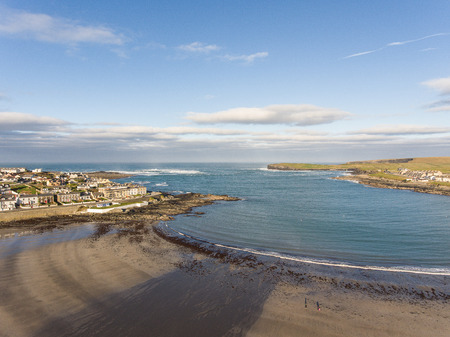 irish landscape: west coast of ireland top summer beach. kilkee beach and town in county clare. scenic kilkee on a sunny day. aerial view.