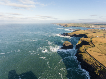 Aerial Loop Head Peninsula in West Clare, Ireland. Kilkee Beach County Clare, Ireland. Famous beach and landscape on the wild atlantic way. Epic Aerial scenery landscape from Ireland.