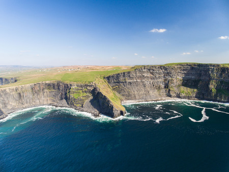 doolin: Aerial Ireland countryside tourist attraction in County Clare. The Cliffs of Moher and Burren Ireland. Epic Irish Landscape Seascape along the wild atlantic way. Beautiful scenic nature Ireland