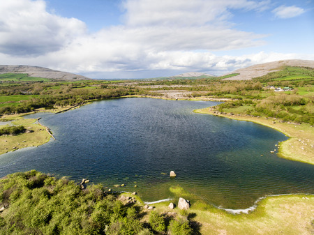Epic Aerial view of the beautiful Irish countryside nature landscape from the Burren national park in County Clare Ireland Stock Photo