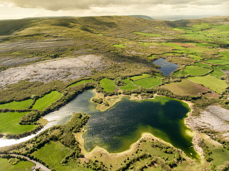 irish countryside: Epic Aerial view of the beautiful Irish countryside nature landscape from the Burren national park in County Clare Ireland Stock Photo