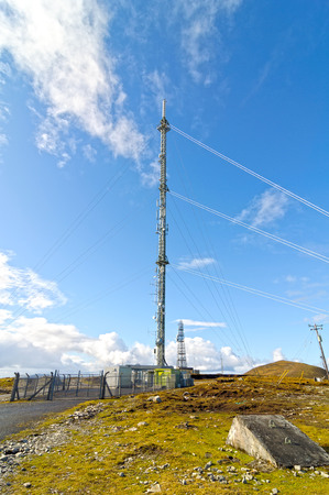 mountain antenna aerial satellite communications tower mast in the west of ireland. Stock Photo