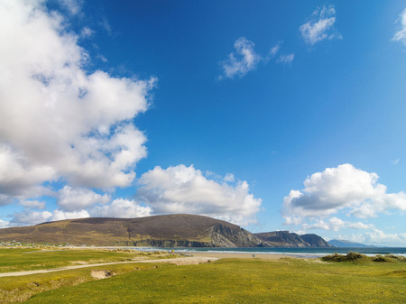 beautiful rural irish country nature landscape from the north west of ireland. scenic achill island along the wild atlantic way. famous irish tourism attraction.