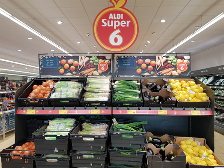 Ennis, Ireland - Nov 17th, 2017:  Aldi Store in Ennis County Clare, Ireland. Selection of various fresh raw vegetables