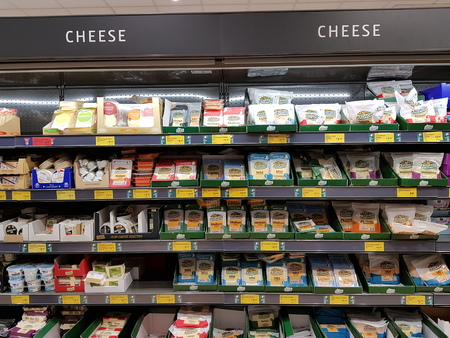 Ennis, Ireland - Nov 17th, 2017:  Aldi Store in Ennis County Clare, Ireland. Selection of various Irish cheese