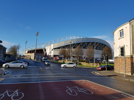 Thomond Park is a stadium - Dec 11th 2017: Located in Limerick in the Irish province of Munster. The stadium is owned by the Irish Rugby Football Union,  Munster Rugby, Shannon RFC and UL Bohemian RFC Editorial
