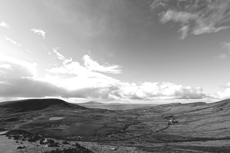 Black and white picture of a beautiful scenic Irish countryside landscape from Achill island in Mayo Ireland