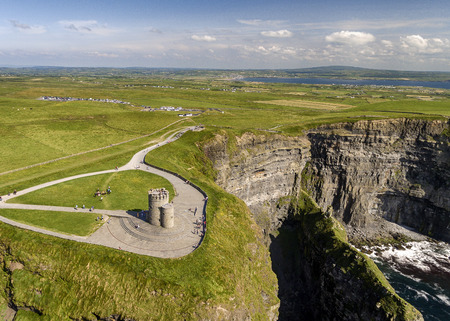 aerial view of the world famous cliffs of moher in county clare ireland. Stockfoto