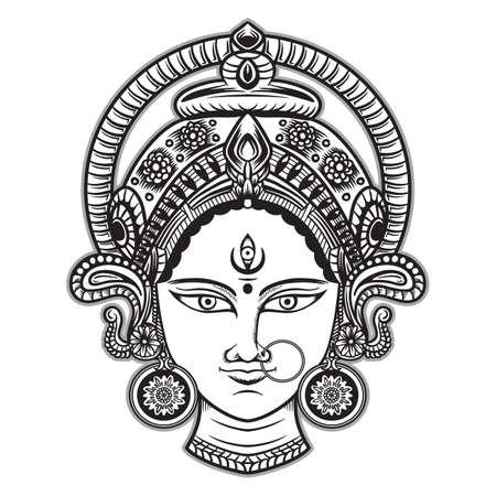 vector Illustration of Happy Navratri, Durga Pooja, Maa Durga, Indian/Hindu Celebration for gift card, flyer, poster,etc. Vektorgrafik