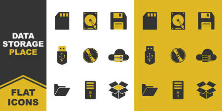 collection of data storage place flat icons. micro card, hard disk, floppy, flash disk, CD, cloud, folder, PC. Vector illustration. Vettoriali