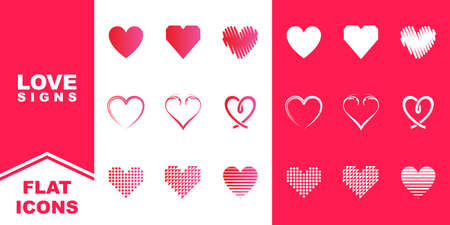 collection of modern heart, romance, love or valentine day vector icons illustration for apps and website
