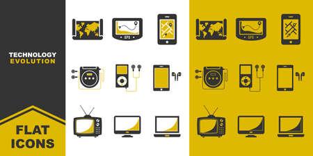 collection of technology evolution flat icons. map, music player, old television. Vector illustration. Ilustração