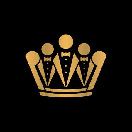 tuxedo and crown logo creative concept