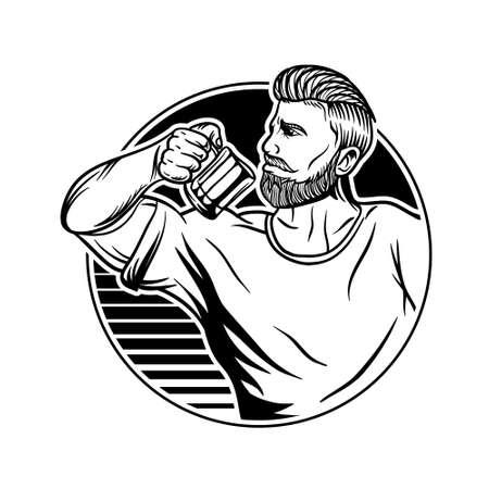 strong man drink coffee illustration