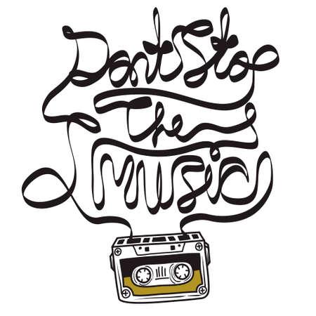 Cassette Tape Music Quote Illustration
