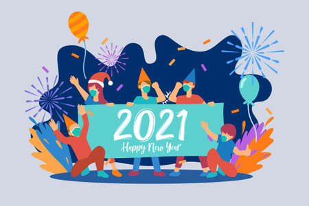 Flat illustration of happy new year and new normal 2021 design for greeting card, banner, landing page, etc.