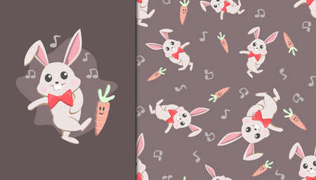 Seamless pattern with Dancing Rabbit and Carrot. Vector Illustration.