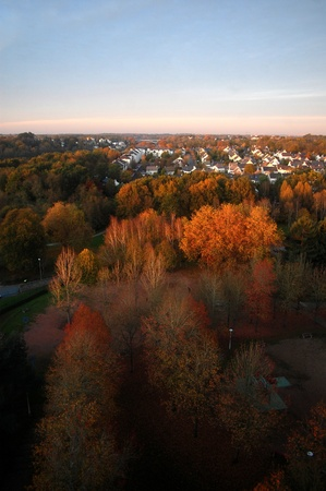 Autumn landscape in Nantes, France. At the Little Port, river Erdre.