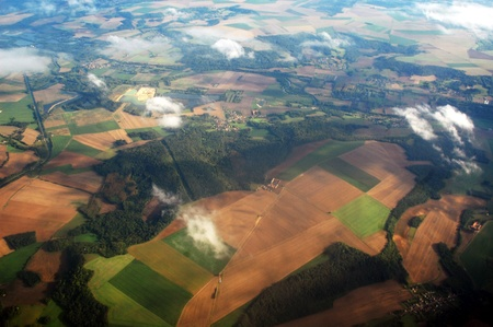 view from above of the countryside in France