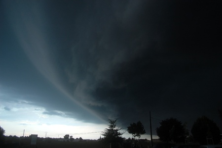 unleashed: a big dark cloud above Nantes, France. summer 2011 Stock Photo