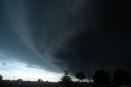 a big dark cloud above Nantes, France. summer 2011 Banque d'images