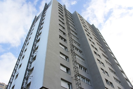 apartment building, insulation work