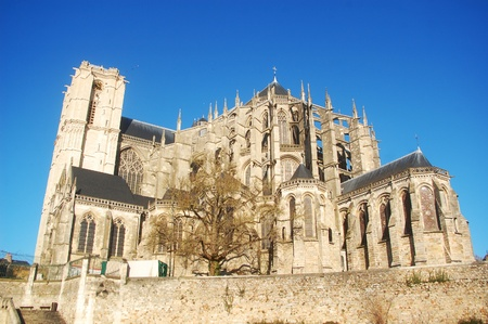 The cathedral St  Julien from Le Mans, France Banque d'images