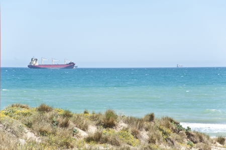 A big vessel near the coast of El Soler ,Spain  photo