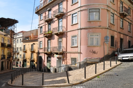 Old buildings in the ancient part of Lisbon ,Portugal  photo