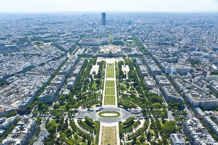 Paris from above   The city center   Parc du Champ de Mars  France  photo