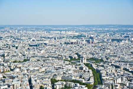 Paris from above The city center The Arch of Triumph France