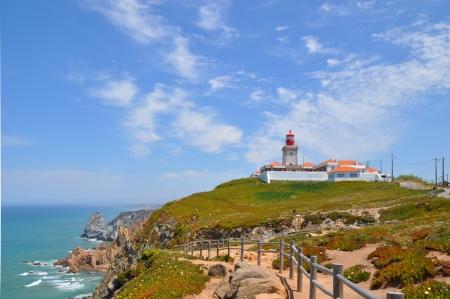 roca: Cabo da Roca , lighthouse . Portugal. Stock Photo