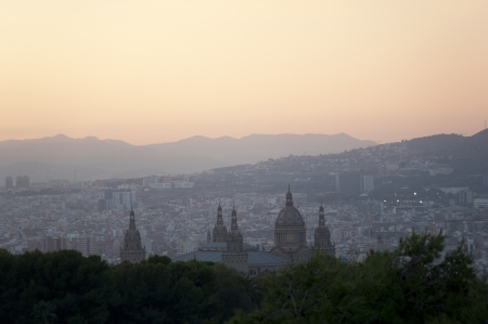 nationale: Barcelona, view of the city in the dusk  The Palace Nationale, Spain
