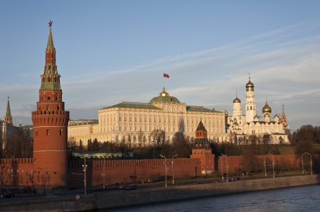 The Kremlin of Moscow at the sunset,the Moscow River, Russia  photo